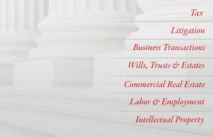 Tax; litigation; business transactions; wills, trusts, and estates; commercial real estate; labor and employment; intellectual property